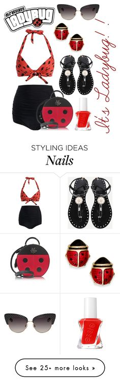 """""""Miraculous Ladybug at the Beach"""" by kathrynrose42 on Polyvore featuring Dolce&Gabbana, Charlotte Olympia and Essie"""