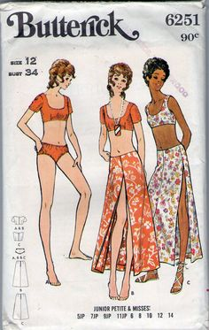 Butterick 6251 vintage sewing pattern 1970s swimsuit cropped