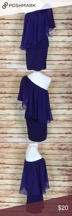 """NWT Forever 21 Purple One Shoulder Dress Chiffon S NWT purple one shoulder dress. Ruffled chiffon overlay. Sleeveless. Has stretch. Forever 21. Small.  New with tags and no flaws.  Measurements are approximately: 30"""" bust, 28"""" waist, 32"""" hips, and 34"""" length shoulder to hem.  74% polyester 20% rayon 6% spandex.  No trades. All items come from a pet friendly home. Bundle to save! Forever 21 Dresses One Shoulder"""