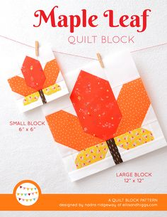 """New fall quilt patterns by Nadra Ridgeway of ellis & higgs. The maple leaf quilt block is one of nine autumn inspired designs that are perfect to include into your seasonal quilt projects! The finished sizes are 12"""" and 6"""" square and the patterns are fun and easy to make! Each pattern contains diagramed step-by-step instructions for the single blocks & requirements for a lap size quilt and mini quilt. Patchwork, quilting, sewing, fall crafts, DIY, Thanksgiving, Halloween."""