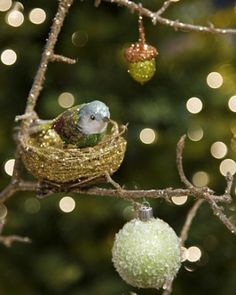 Bird's Nest Ornaments & Sparkling Branches
