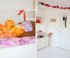 Stilvolle Kinderzimmer Idee für Zwillingsmädchen in rosa, weiß und rot  - #Kinderzimmer