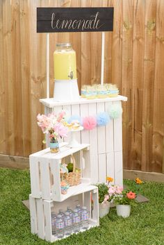 Drink station from a Pastel County Fair Themed Birthday Party via Kara's Party Ideas KarasPartyIdeas.com (14)