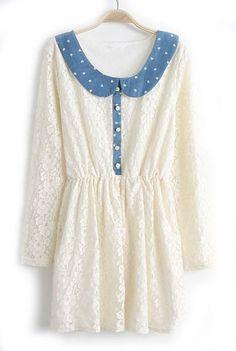 Beige Contrast Lapel Long Sleeve Heart Print Lace Dress - Sheinside.com