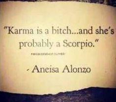 """karma is a bitch.and she's probably a Scorpio"" -- Aneisa Alonzo. Karma is me :) Scorpio Zodiac Facts, Scorpio Traits, Scorpio Horoscope, My Zodiac Sign, Zodiac Quotes, Gemini, Horoscopes, Scorpio Funny, Scorpio Personality"