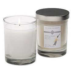 Claire Burke's Vanilla Bean® Filled Candle, Transport yourself into a guilt free world of delicious vanilla with our sweet creamy Vanilla Bean® fragrance, a luxurious indulgence that is truly 100% fat free. finished with a brushed silver lid, this luxury filled candle makes a tasteful statement and welcome gift. Made of natural colored parafin and soy based wax, this distinctive candle offers a warm glow to any room.   Estimated Burn time 45 hours. #96800065 $19.99 www.lambertpaint.com