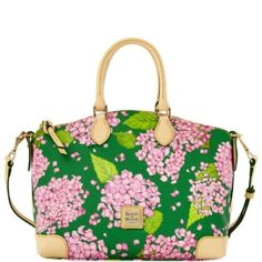 Dooney & Bourke preppy pink & green floral Hydrangea purse