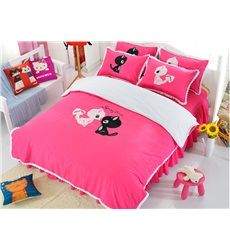 Pink Cute Two Cats Print Cotton Girls 3-Piece Duvet Cover Sets #girls bedroom #bedding #bedrooms