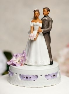 African American Ribbon Accent Wedding Cake Topper