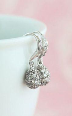 Drop Earrings, Silver Plated Cubic Zircona, Wedding