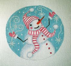 Handpainted Snowman and Snowflakes needlepoint canvas by colors1 (Craft Supplies…
