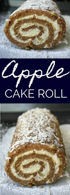 Apple Cake Roll is a moist spiced apple cake rolled in coconut, powdered sugar and pecans and filled with a sweetened cream cheese mixture. Cake Roll Recipes, Apple Cake Recipes, Baking Recipes, Apple Cakes, Apple Spice Cake, Cookie Recipes, Köstliche Desserts, Delicious Desserts, Dessert Recipes