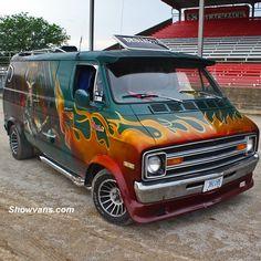 """Custom Dodge Van at the 43rd van nats with """"Destroyer"""".  Ivan Benic was the artist who muralled the van back in the 70's"""