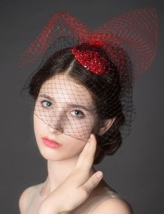 ❀ Beading Red Mesh Bridal Tiara | Riccol ❤