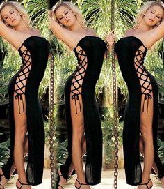 Women's Black Bandage Lingerie Teddy