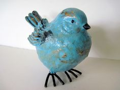 Robin's Egg Blue Bird Hand Painted Distressed French Country Retro Cottage Look Wedding Decor. $8.50, via Etsy.