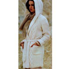 INSTANT DOWNLOAD PDF Vintage Knitting Pattern  Aran Jacket  with Belt and Hood Cardigan Coat