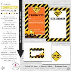 Construction Birthday Party Invitation Set (Printable files) ON SALE NOW only $11.99! (Text Invite) ❚❚❚❚❚❚❚❚❚❚❚❚❚❚❚❚❚❚❚❚❚❚❚❚❚❚❚❚❚ WHAT YOU ARE PURCHASING: ❚❚❚❚❚❚❚❚❚❚❚❚❚❚❚❚❚❚❚❚❚❚❚❚❚❚❚❚❚ ►Construction Party Invitation & Thank You Note Set (Printable files) ►Includes address labels and envelope seals! ►Files sent to your ETSY EMAIL for you to print. No items will be shipped. ❚❚❚❚❚❚❚❚❚❚❚❚❚❚❚❚❚❚❚❚❚❚❚❚❚❚❚❚❚ NO RUSH FEE! Every order sent ASAP! ❚❚❚❚❚❚❚❚❚❚❚❚❚❚❚❚❚❚❚❚❚❚❚❚❚❚❚❚❚ ►INCLUDE invitation…