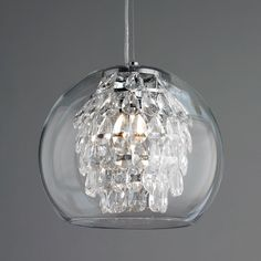 Glass Globe and Crystal Pendant Light polished_nickel