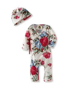 """Barn Organics Bodysuit with Hat in """"Romantic Roses"""" - probably the cutest thing I've ever seen."""