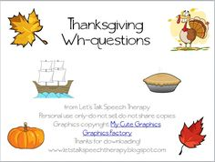 Thanksgiving Wh-questions - Let's Talk Speech Therapy