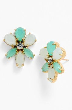Floral blue stone earrings by Kate Spade