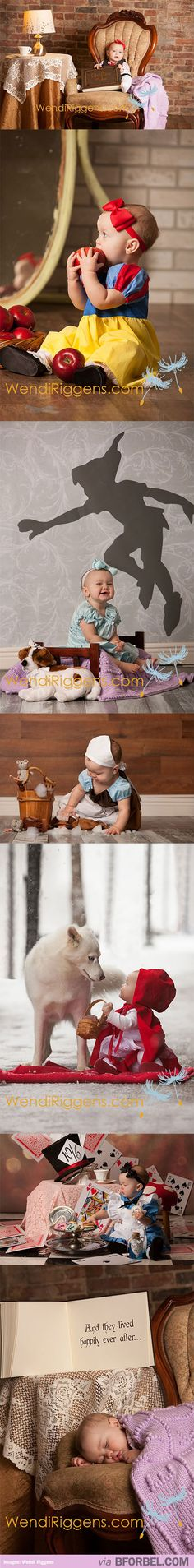 What an adorable disney baby photo shoot idea!  At first, she's reading the fairytale book then it shows her in each character for each one!  Last picture shows her asleep after all of her adventure!  So cute!