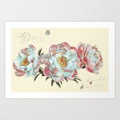 vintage+peonies+Art+Print+by+Lizzy+Pe+-+$17.00