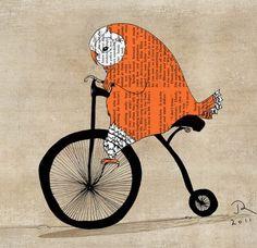 orange owl bicycle by juri romanov
