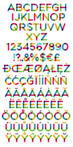 Multicolore Free Fonts – unique colored rounded free fonts!  With Multicolore font you can easily create short texts for headlines, posters or whatever. Or simply stack few characters to create some random art! Inspired from Mohawk Paper logo.