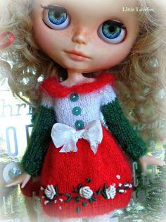 BLYTHE DOLL Dress - OOAK - Christmas Dress/ Red/White/Green mohair dress with vintage flower border by LittleLovelieShop on Etsy