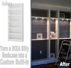 Turn an IKEA Billy Bookcase into a custom built-in. This built in is easy and cheap!