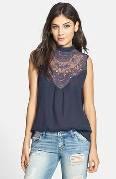Rubbish® Sleeveless Crocheted Yoke Top (Juniors) available at #Nordstrom