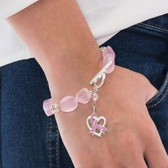 Pink Sea Glass Sterling Silver Bead Breast Cancer Bracelet