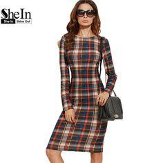 b121f179e9d1c0 SHEIN Elegant Bodycon Dress Winter Autumn Dress Fall Women Multicolor Plaid  Long Sleeve Knee Length Pencil Dress-in Dresses from Women s Clothing ...
