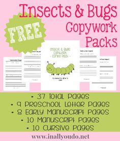 Insects & Bugs Copywork Packs {freebies} - In All You Do