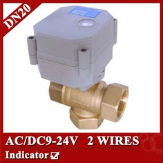 31.48$  Watch here - http://alidwh.shopchina.info/go.php?t=1385584662 - 3/4'' 3 way T type actuated control valve, DC/AC9-24V electric valve normal open/closed, 2 wires motorized valve 31.48$ #aliexpresschina