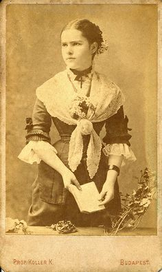Young woman wearing a lacy shawl CDV, around late 1870s to c. 1880.   Photographer: Professor Koller Károly (1838-1889) Royal photographer since 1873. Budapest, Harmincad utca (st) 4. Hungary