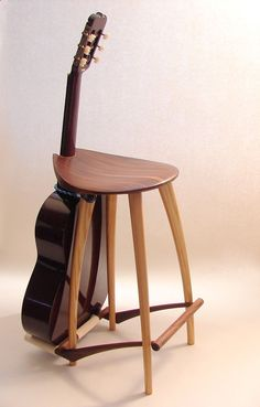 Wood Profits - guitar stand stool. too bad this guy isnt making these any more. This is so cool Discover How You Can Start A Woodworking Business From Home Easily in 7 Days With NO Capital Needed!