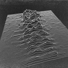 """I wasn't sure if I should post this on my music board, or my design board. Few album covers have affected my senses like Joy Division's """"Unknown Pleasures."""" This version is a wonderful 3D remix of that piece."""