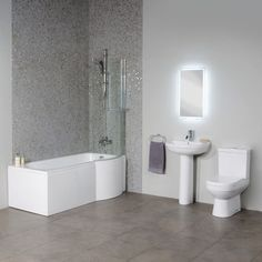 The shower bath comes complete with a curved shower screen and acrylic front panel. The Dee toilet with soft close seat and the Dee basin and full pedestal really complete this stylish and practical bathroom suite.