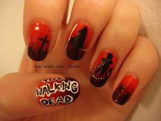 14 Killer Walking Dead Nail Art Designs | The Walking Dead fanatics
