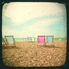 """Deckchairs. 8x8"""" Print by CassiaBeck on Etsy."""