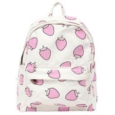 Bag: cute pink white backpack cool strawberry kawaii kawaii ❤ liked on Polyvore