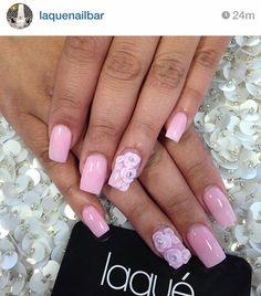 Acrylic nails, square nails / acrylic nail art / 3d nail design / acrylic rose / rhinestone / pink nail polish /