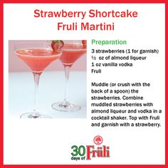 Beer Cocktail - Strawberry Shortcake Fruli Martini Alcoholic Beverages, Cocktails, Delicious Food, Tasty, Vanilla Vodka, Cocktail Making, Strawberry Shortcake, Martini, Shots