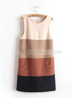 丸のネックライン 色ブロック タンクドレス 最高 ウール  (10867555)