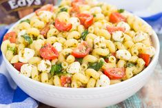 This Caprese Pasta Salad is filled with tender noodles, cherry tomatoes, fresh basil, and creamy mozzarella cheese!