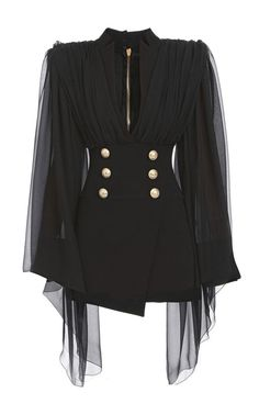 Cape-Overlay Double-Breasted Silk Dress by BALMAIN for Preorder on Moda Operandi kleidung,
