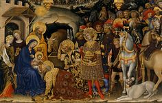 The Adoration of the Magi (or Pala Strozzi) by Gentile da Fabriano is placed in the halls #5-6 of the International Gothic at theUffizi Gallery